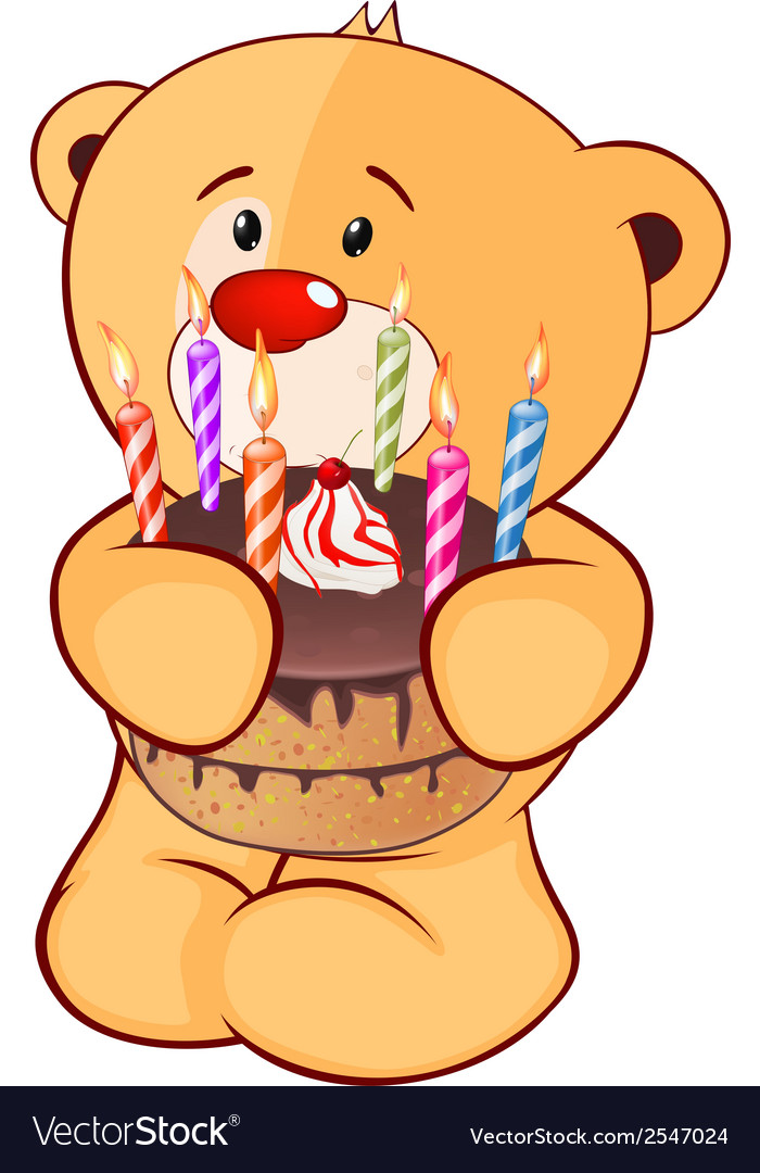 A stuffed toy bear cub and a pie cartoon vector | Price: 1 Credit (USD $1)