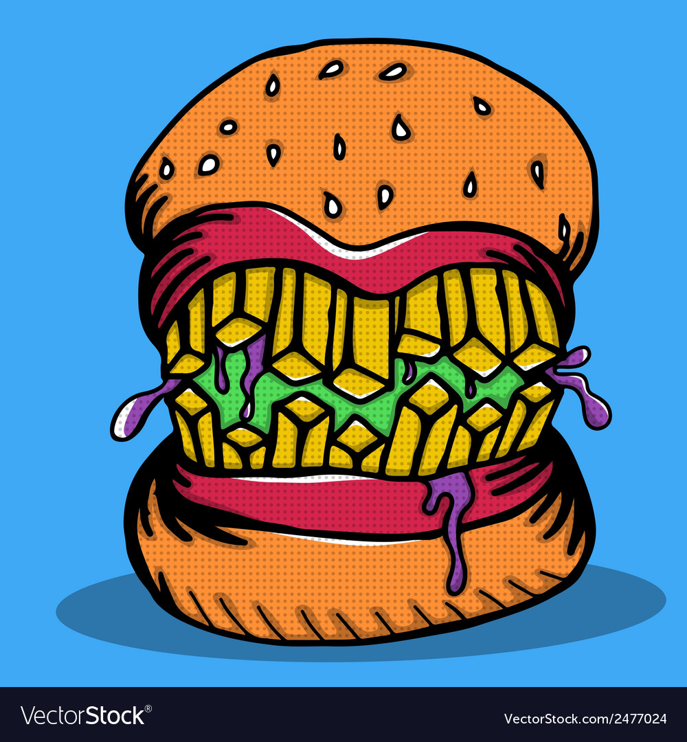 Crazy burger monster doodle vector | Price: 1 Credit (USD $1)