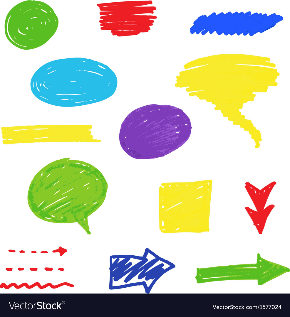 Felt tip pen scribbles set vector | Price: 1 Credit (USD $1)