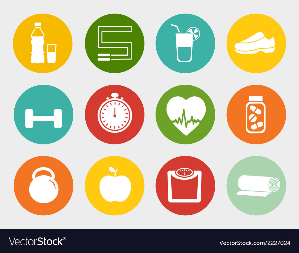 Fitness flat icons vector   Price: 1 Credit (USD $1)