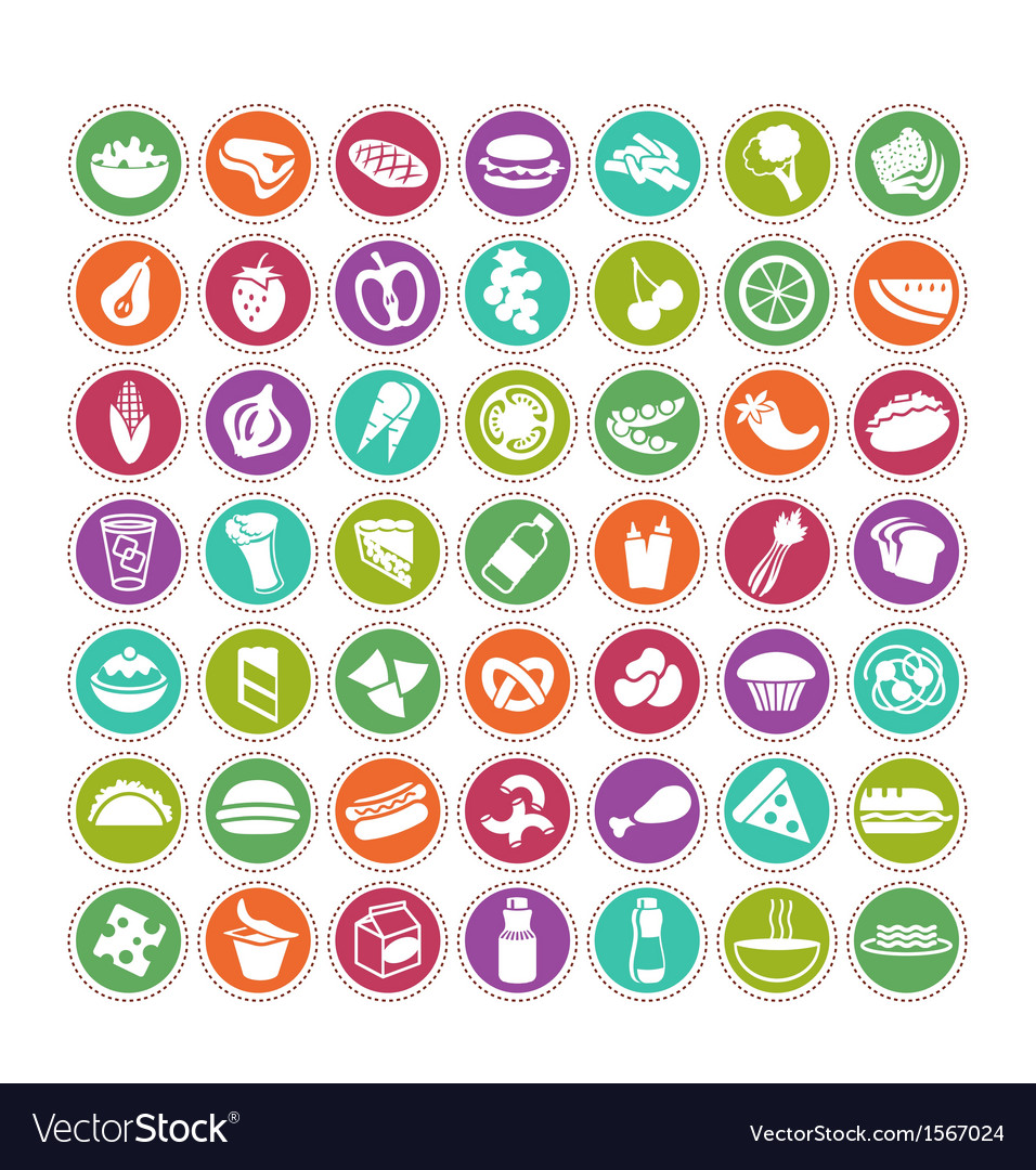 Food icons set 4 vector | Price: 1 Credit (USD $1)
