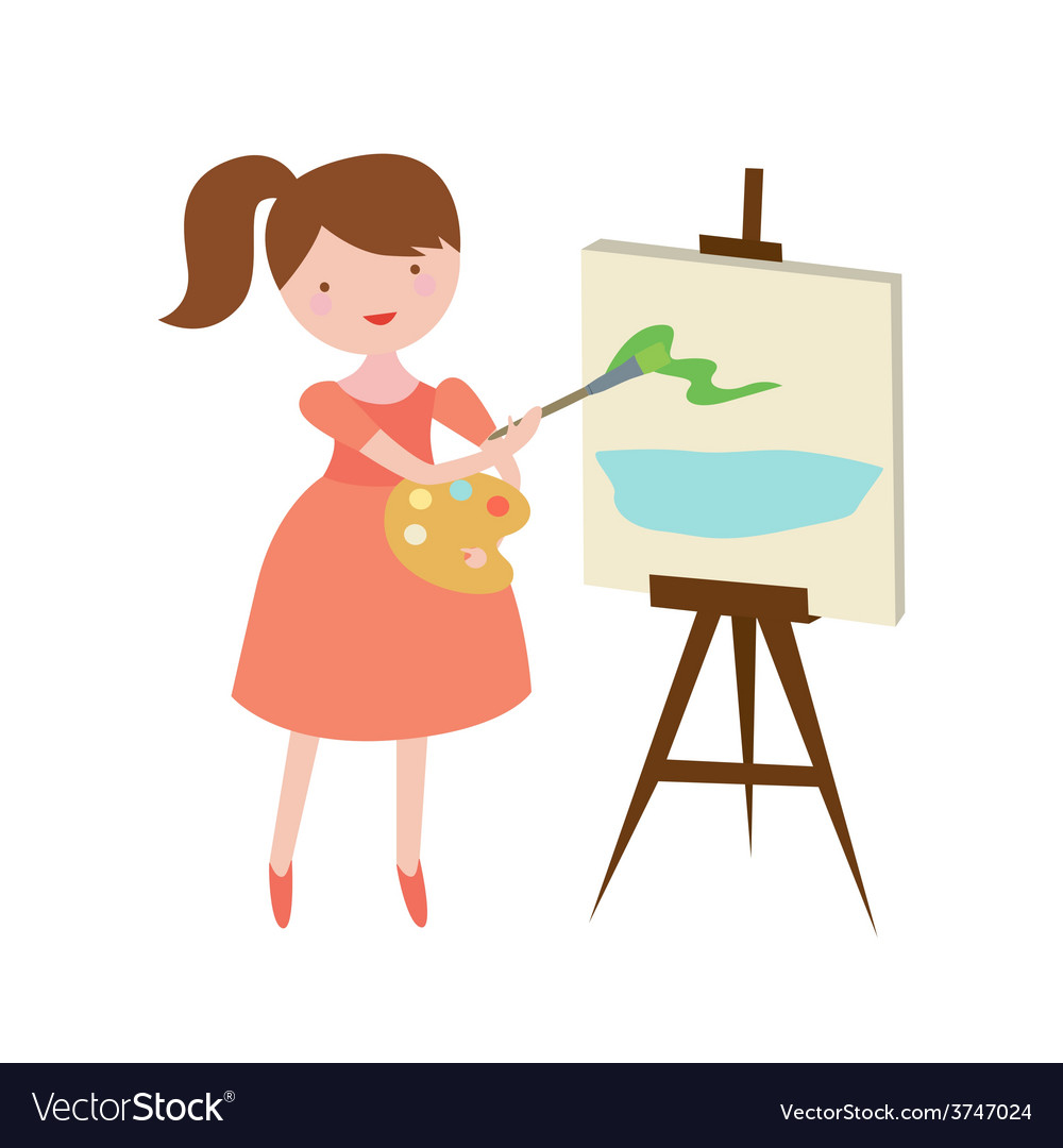 The girl the artist draws a landscape on a canvas vector | Price: 1 Credit (USD $1)