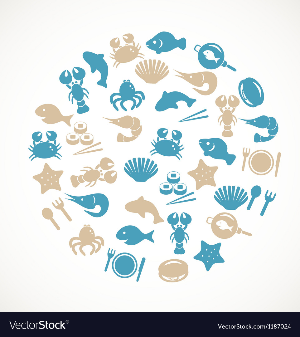 Seafood icons vector | Price: 1 Credit (USD $1)