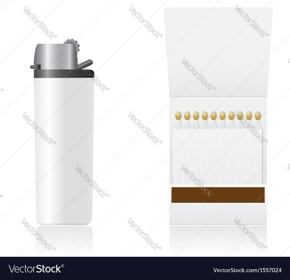 Set of white blank lighter and matches vector | Price: 1 Credit (USD $1)