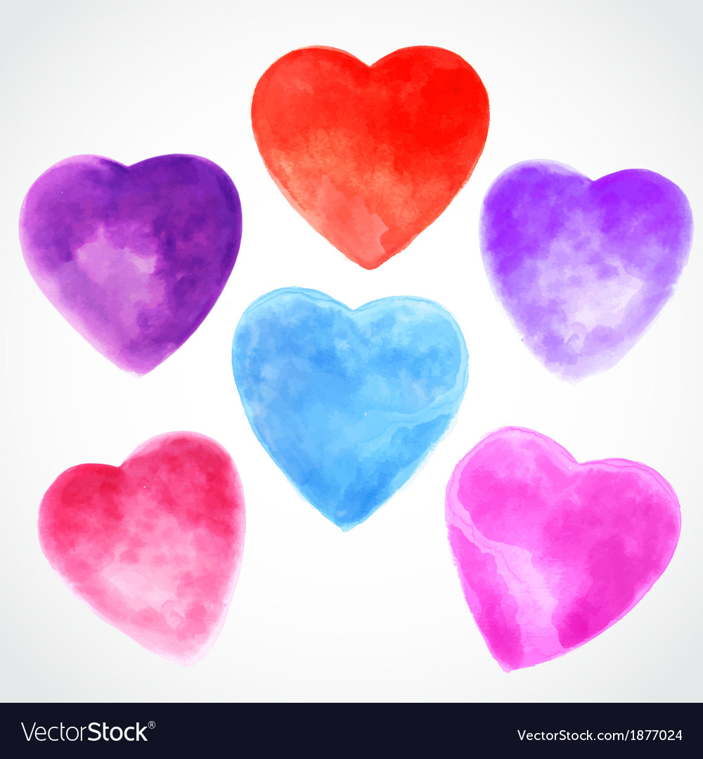 Watercolor beautiful hearts vector | Price: 1 Credit (USD $1)