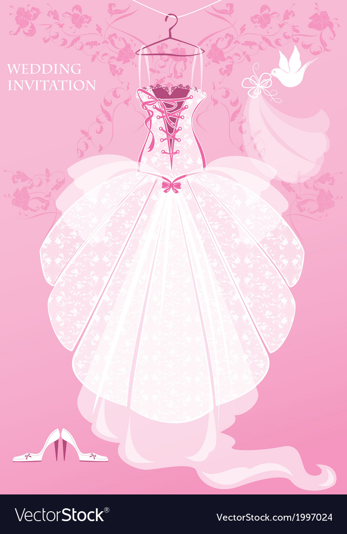 Wedding dress shoes and bridal veil on pink backg vector | Price: 1 Credit (USD $1)