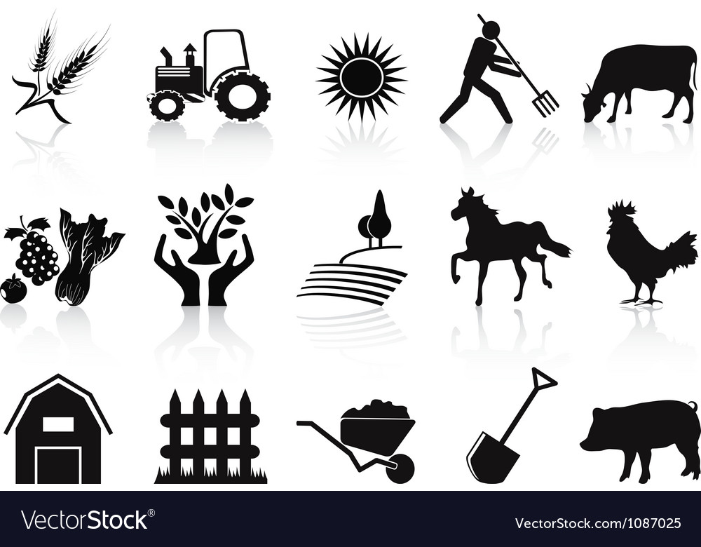 Black farm and agriculture icons set vector | Price: 1 Credit (USD $1)