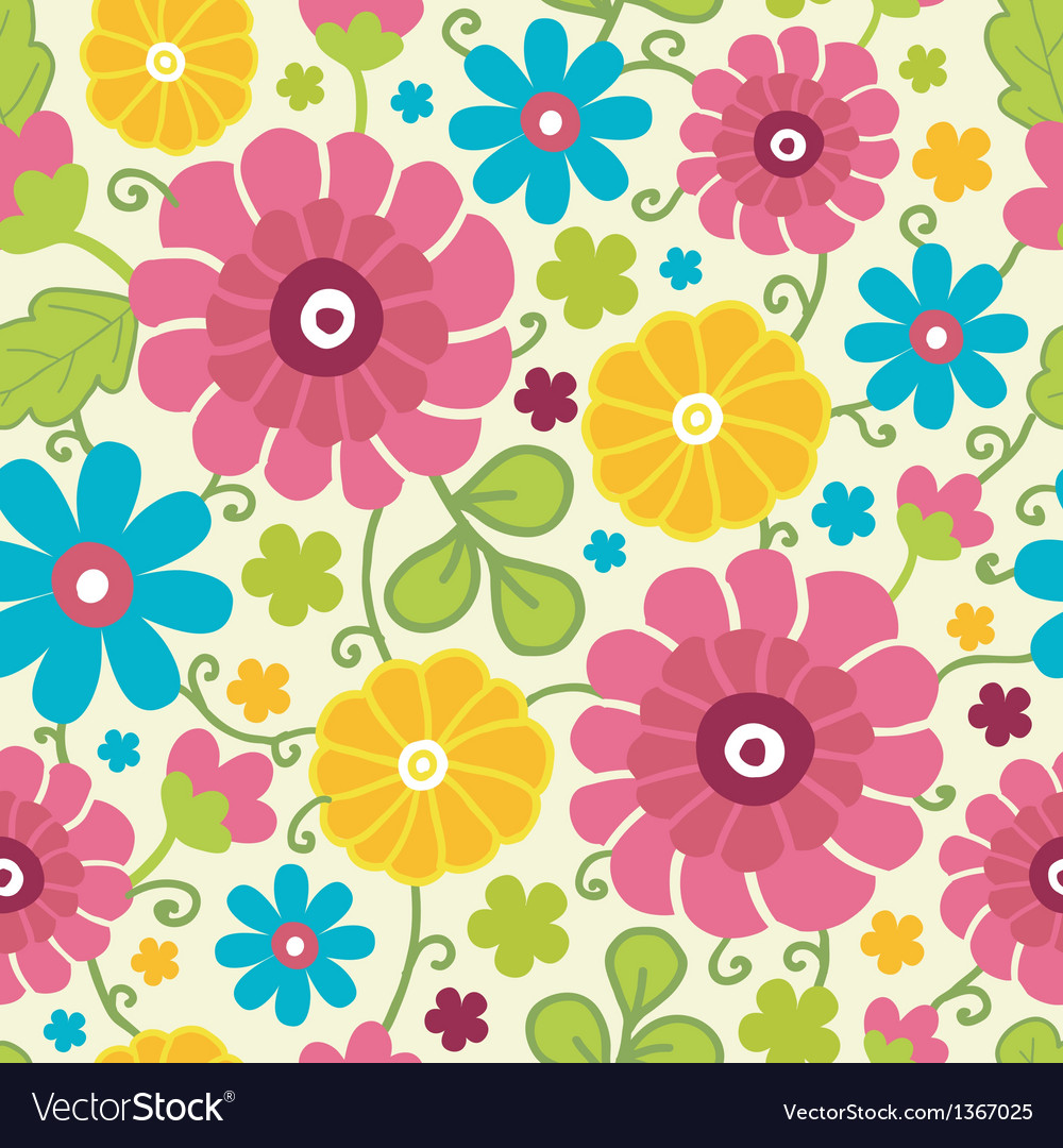 Colorful kimono flowers seamless pattern vector | Price: 1 Credit (USD $1)