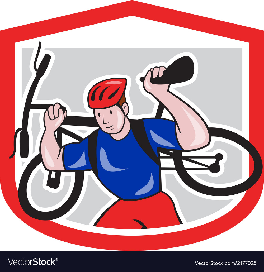 Cyclist carrying mountain bike on shoulders vector | Price: 1 Credit (USD $1)