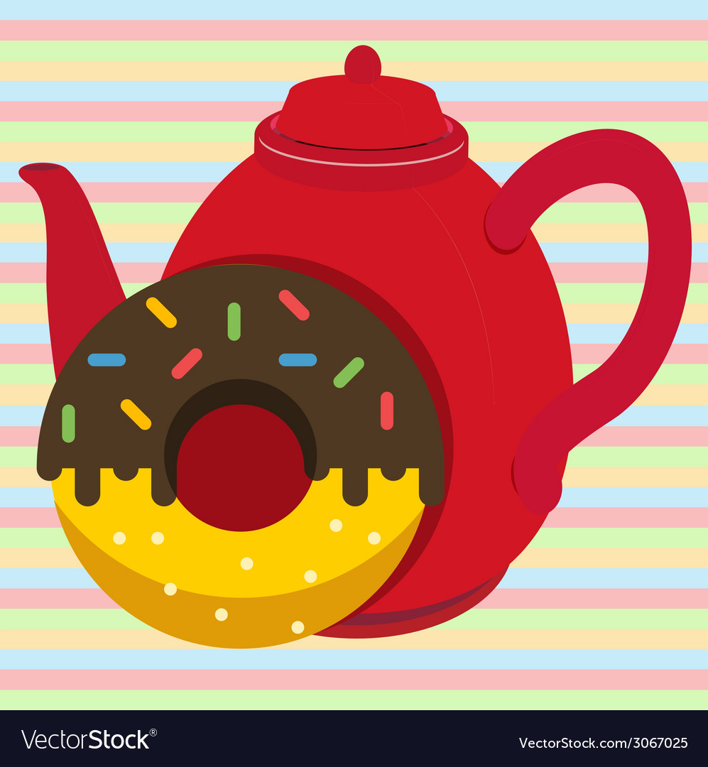 Donut with tea vector   Price: 1 Credit (USD $1)