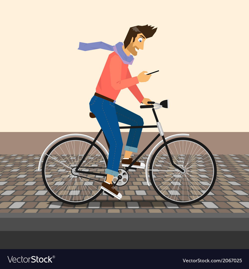 Handsome guy rides a bike vector | Price: 1 Credit (USD $1)