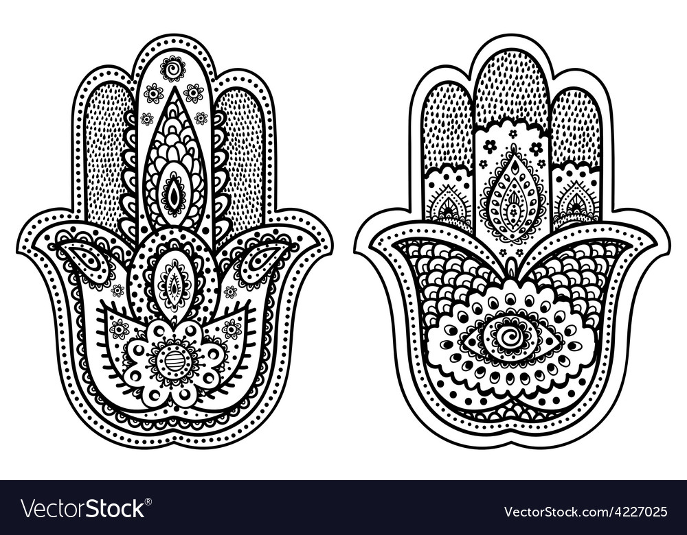 Indian hand drawn hamsa with ornaments vector   Price: 1 Credit (USD $1)