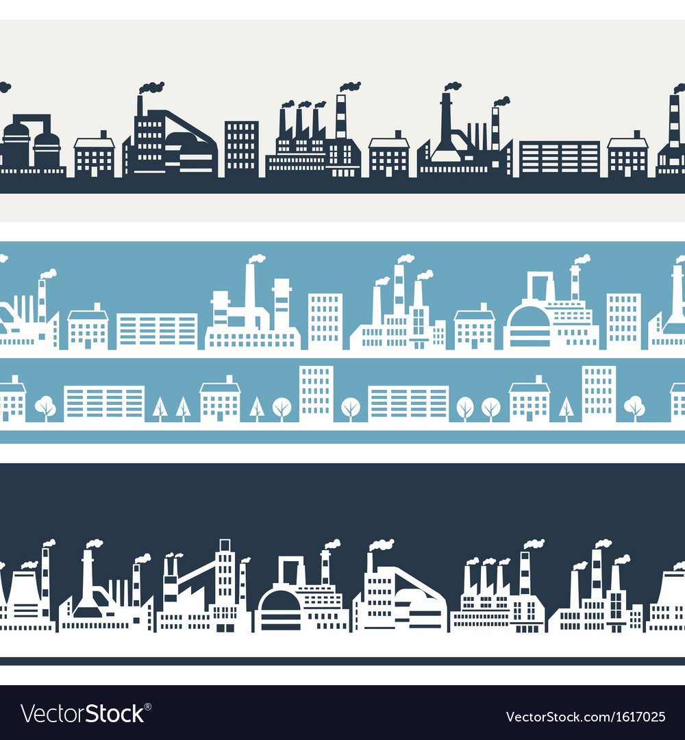 Industrial factory buildings horizontal banners vector | Price: 3 Credit (USD $3)