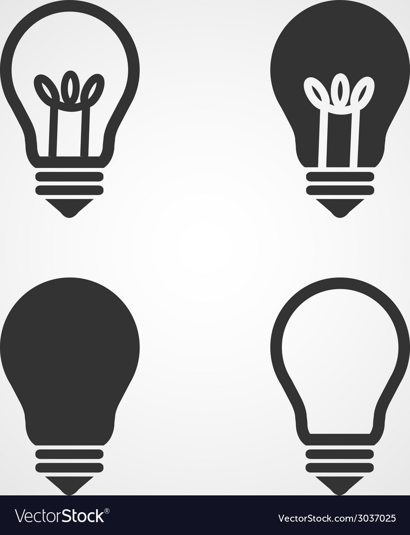 Light bulb icons set flat design vector | Price: 1 Credit (USD $1)