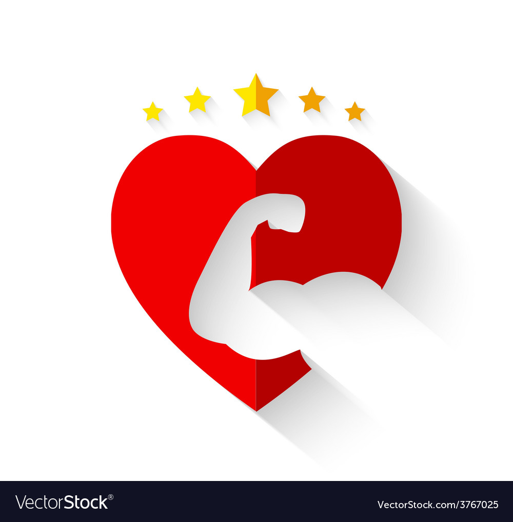 Muscular arm on heart shape with crown of stars vector | Price: 1 Credit (USD $1)