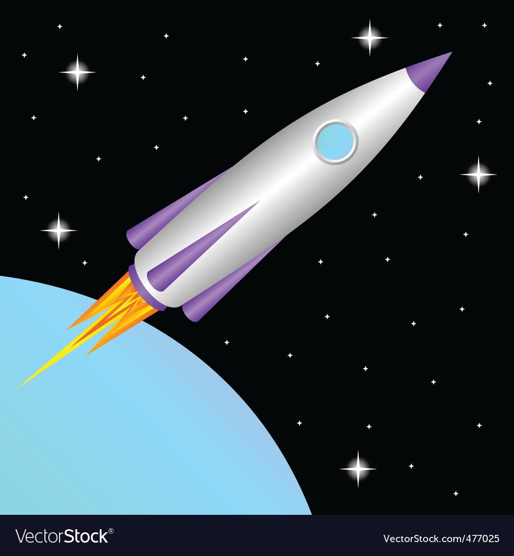 Rocket in space vector | Price: 1 Credit (USD $1)