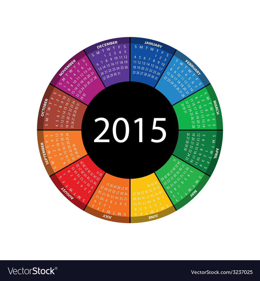 Round calendar for 2015 year vector | Price: 1 Credit (USD $1)