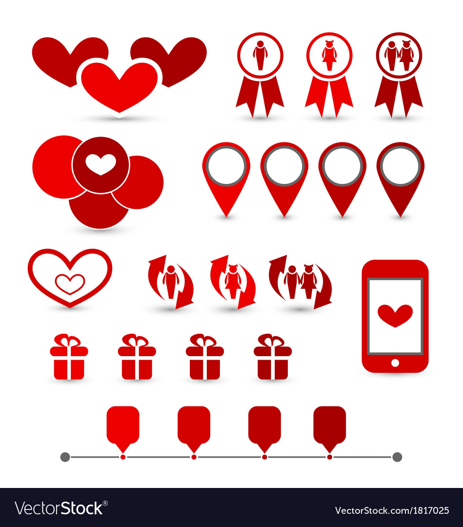 Set infographic elements of valentine presentation vector | Price: 1 Credit (USD $1)