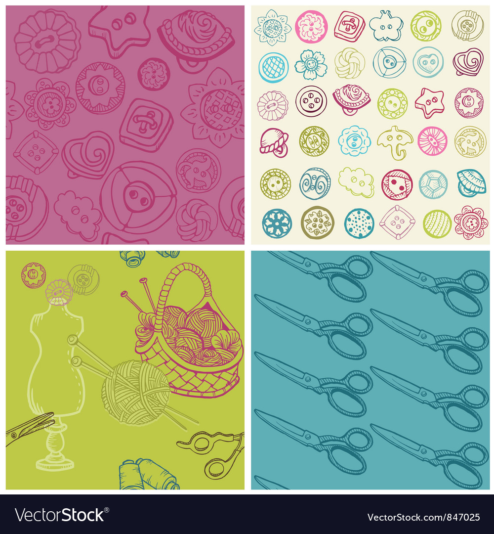 Sewing kit - set of seamless backgrounds vector | Price: 1 Credit (USD $1)