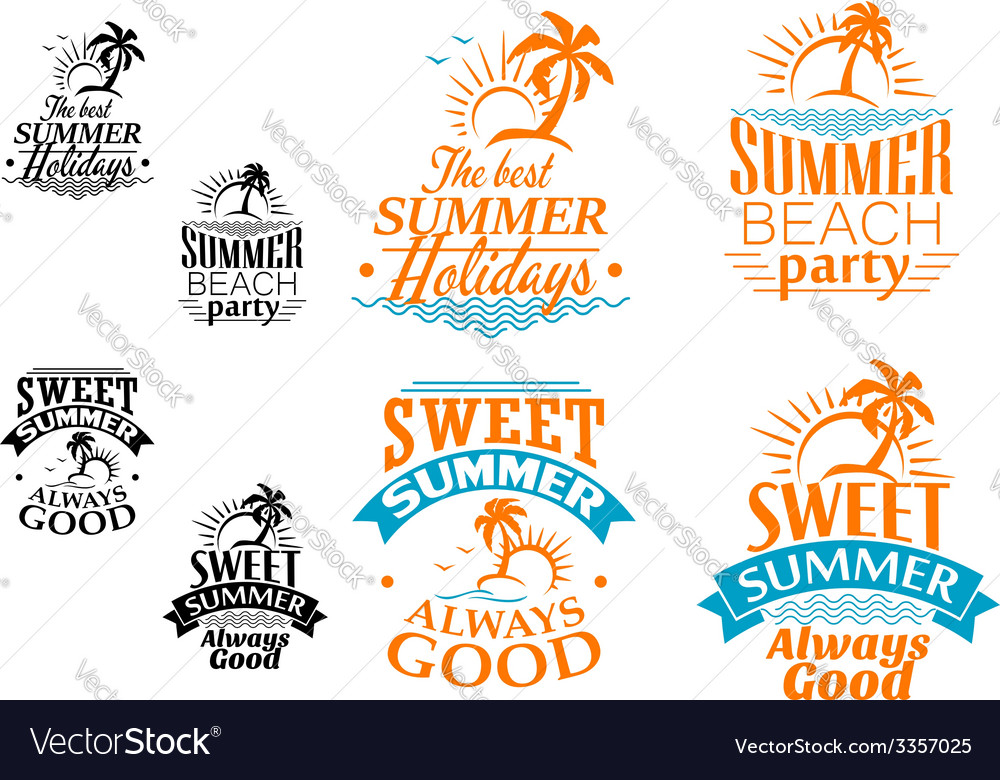 Summer vacation labels and banners vector | Price: 1 Credit (USD $1)
