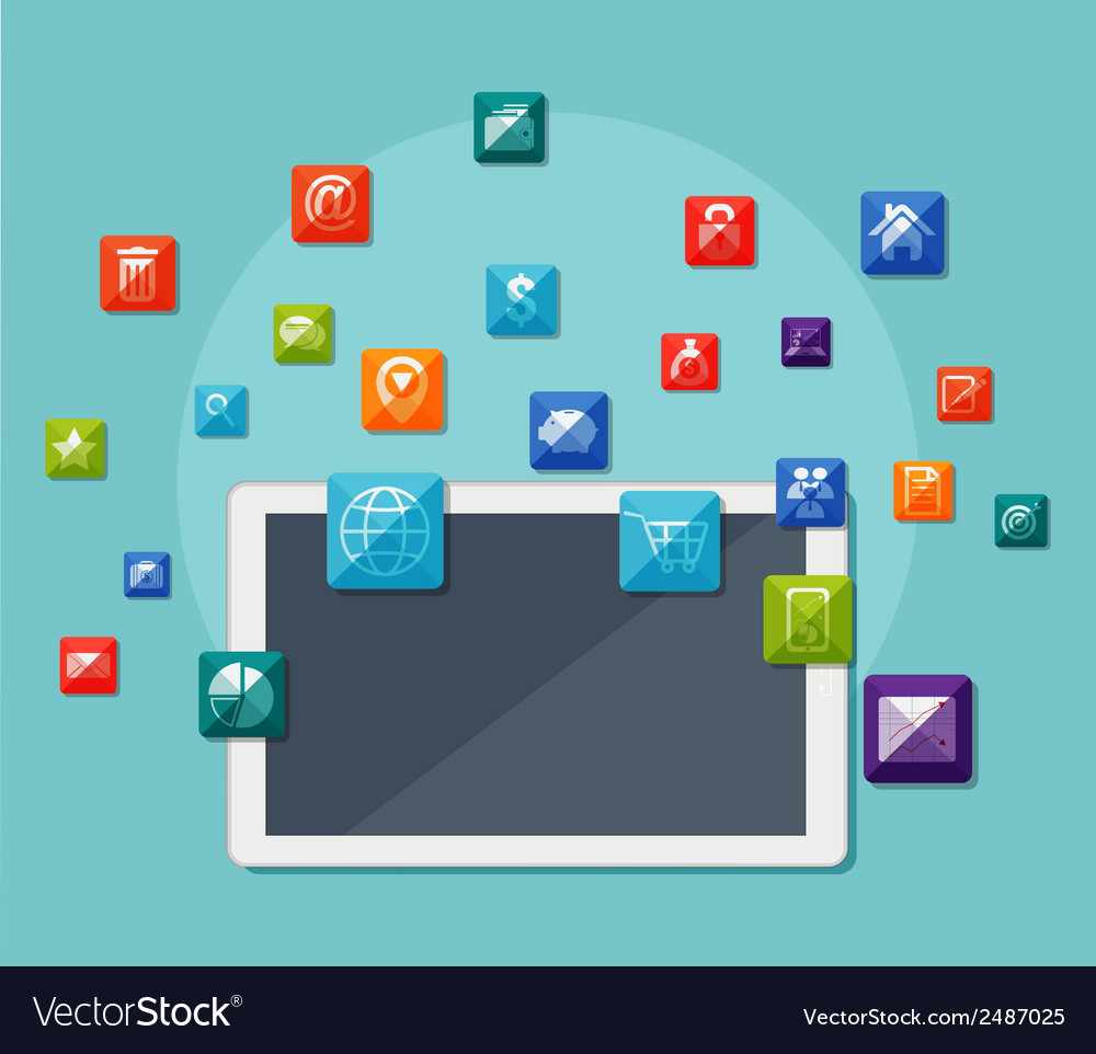 Tablet with icons on communication concept vector | Price: 1 Credit (USD $1)