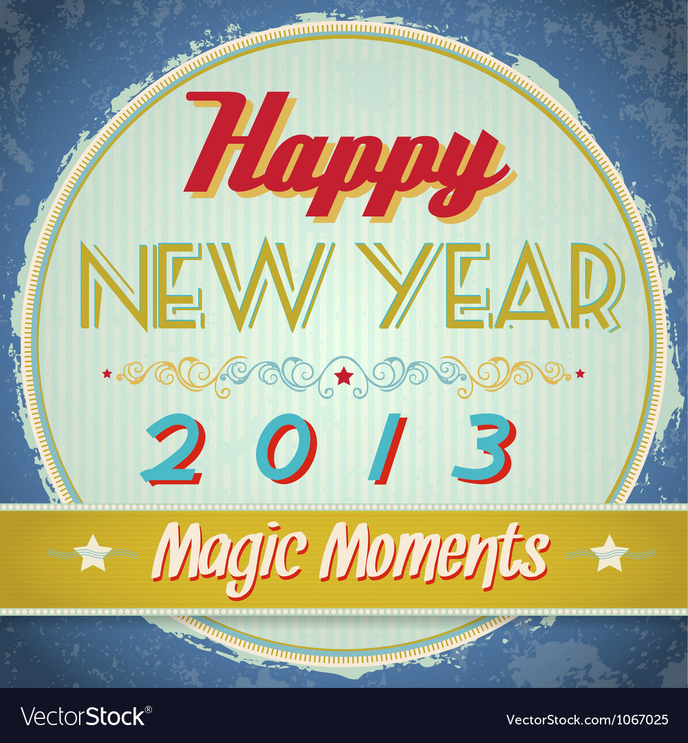 Vintage happy new year sign vector | Price: 1 Credit (USD $1)