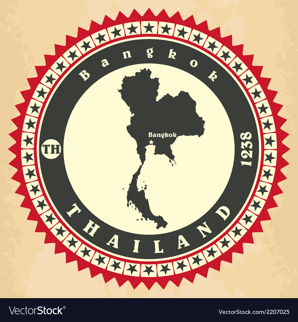 Vintage label-sticker cards of thailand vector | Price: 1 Credit (USD $1)