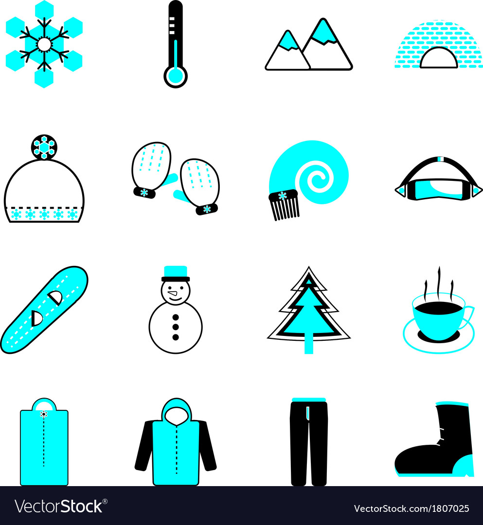 Winter icons on white background vector | Price: 1 Credit (USD $1)