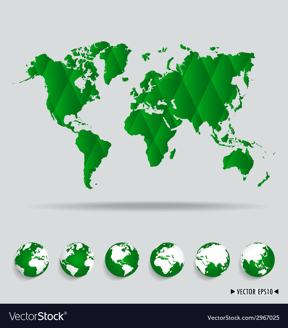 World map and earth globes vector | Price: 1 Credit (USD $1)