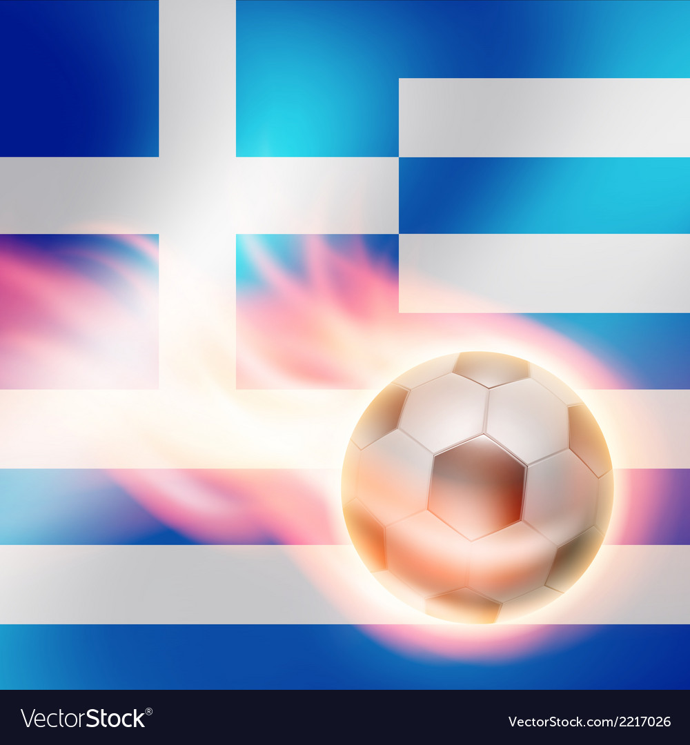 Burning football on greece flag background vector | Price: 1 Credit (USD $1)