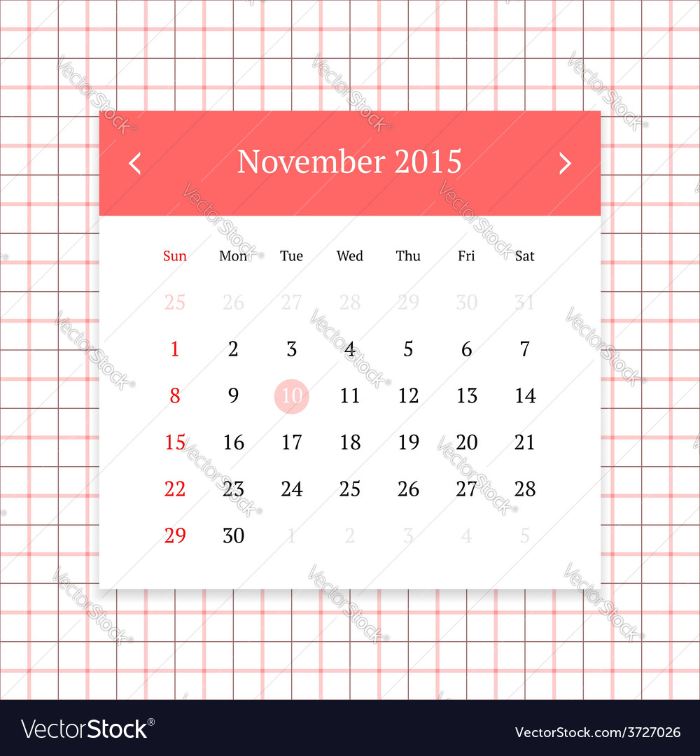 Calendar page for november 2015 vector | Price: 1 Credit (USD $1)