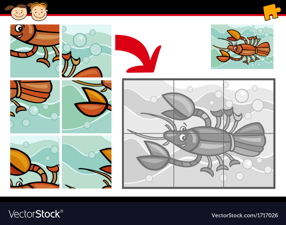 Cartoon crayfish jigsaw puzzle game vector | Price: 1 Credit (USD $1)