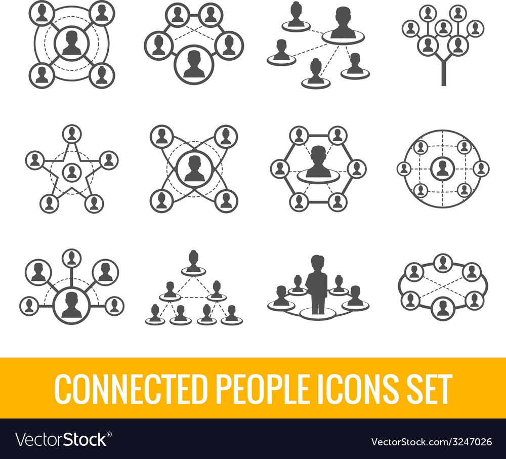 Connected people black icons set vector | Price: 1 Credit (USD $1)