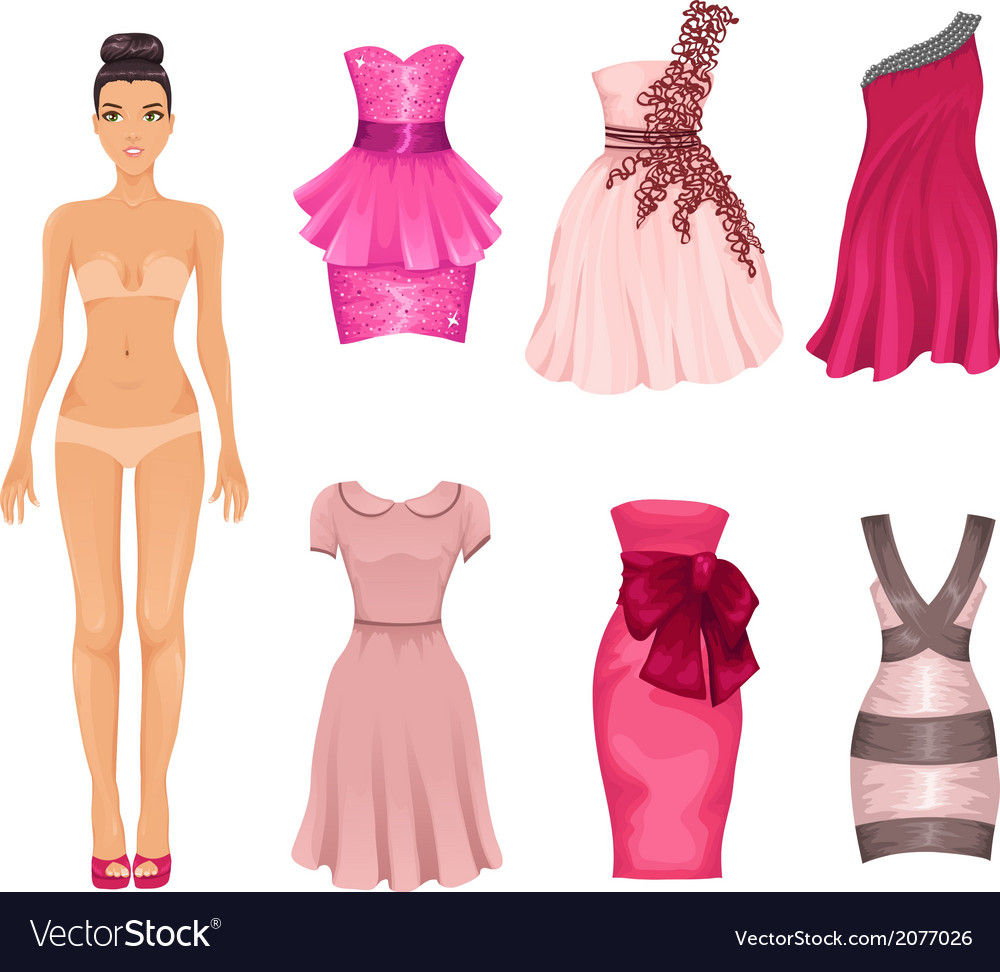 Dress-up doll with pink dresses vector | Price: 1 Credit (USD $1)
