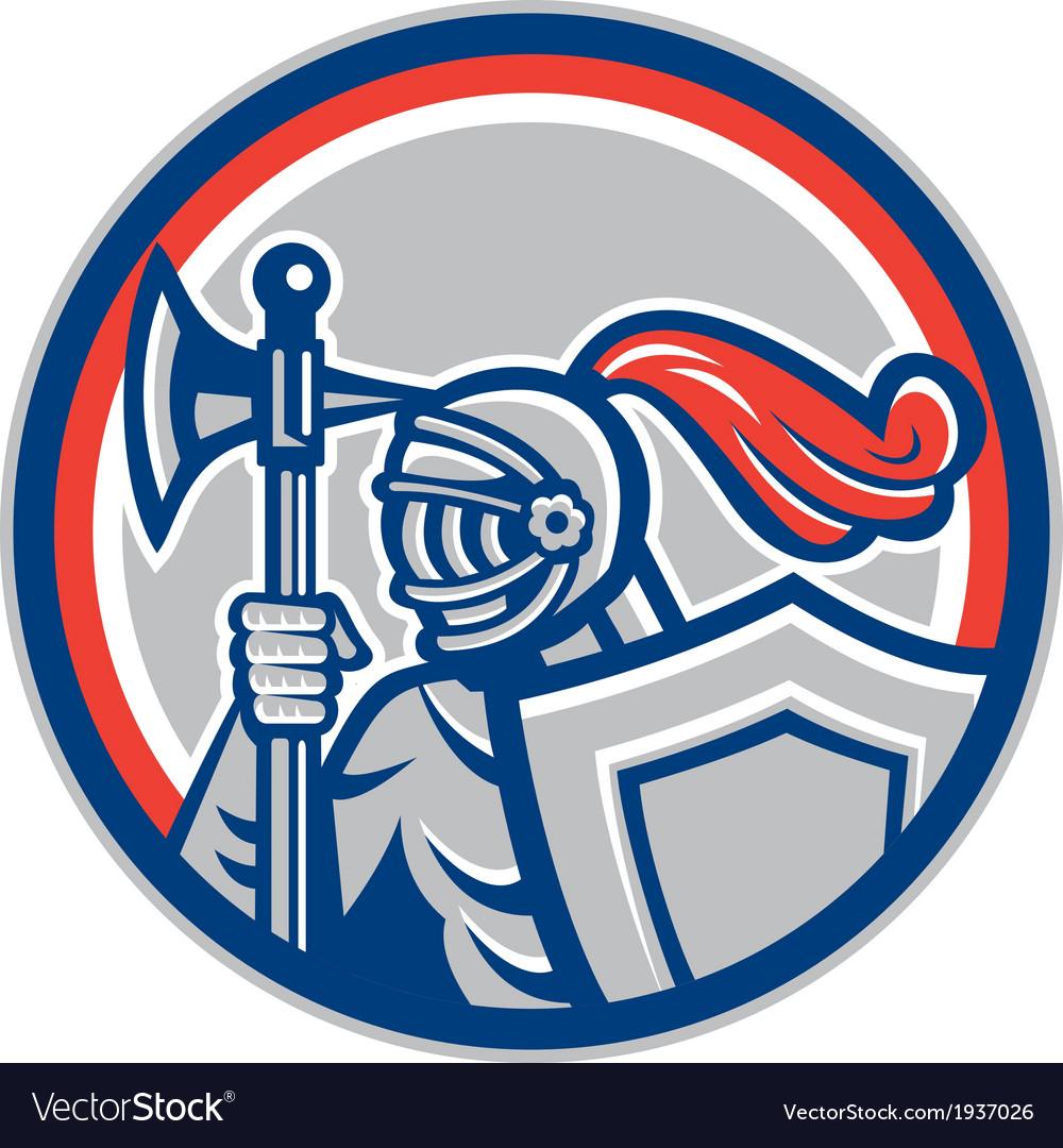 Knight full armor battle axe retro vector | Price: 1 Credit (USD $1)