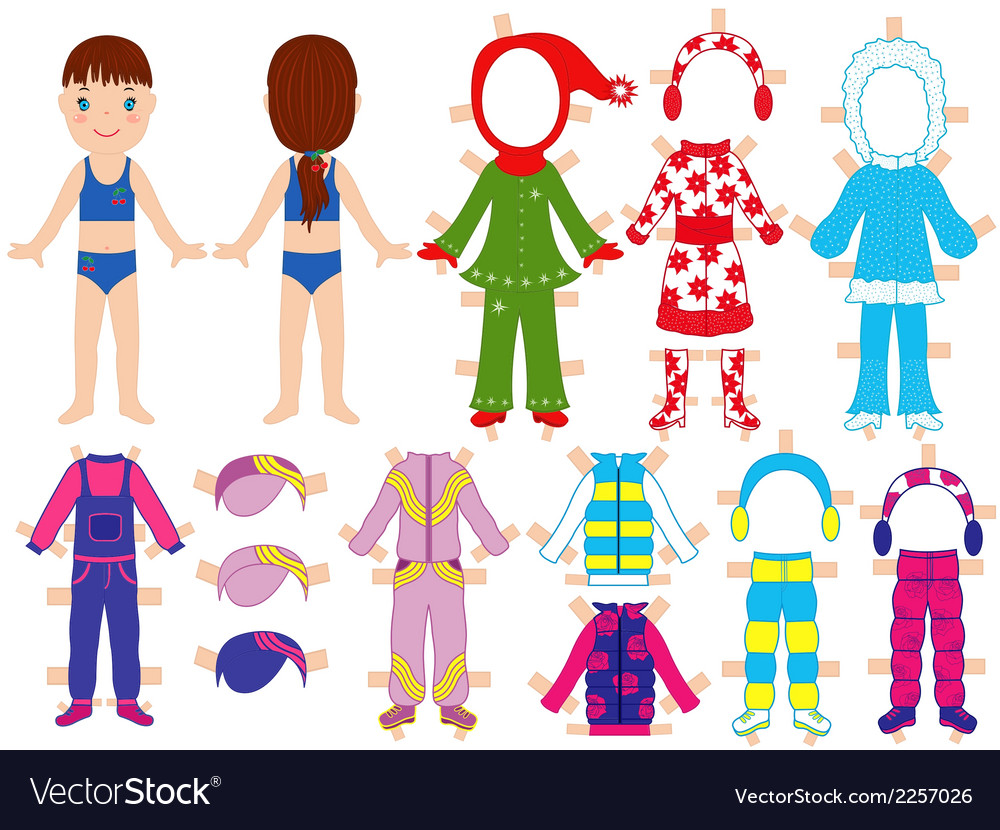 Paper doll and warm clothes set for her vector | Price: 1 Credit (USD $1)