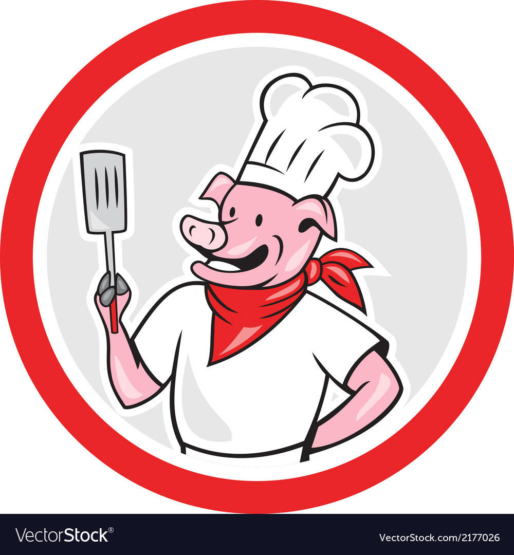 Pig chef cook holding spatula circle cartoon vector | Price: 1 Credit (USD $1)