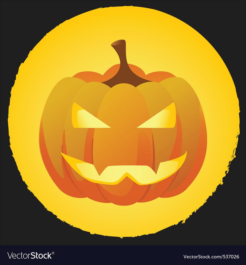 Pumpkin on bright orange background with black bor vector | Price: 1 Credit (USD $1)