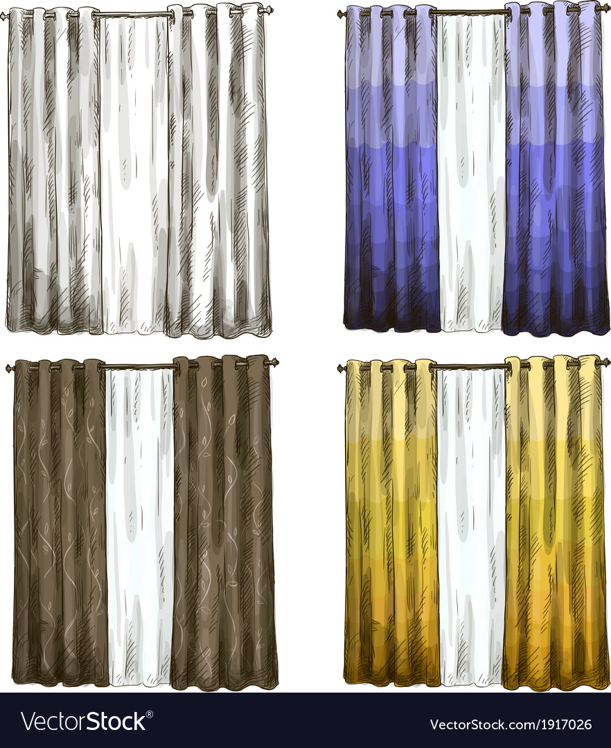 Set of curtains drawings sketch style vector | Price: 1 Credit (USD $1)