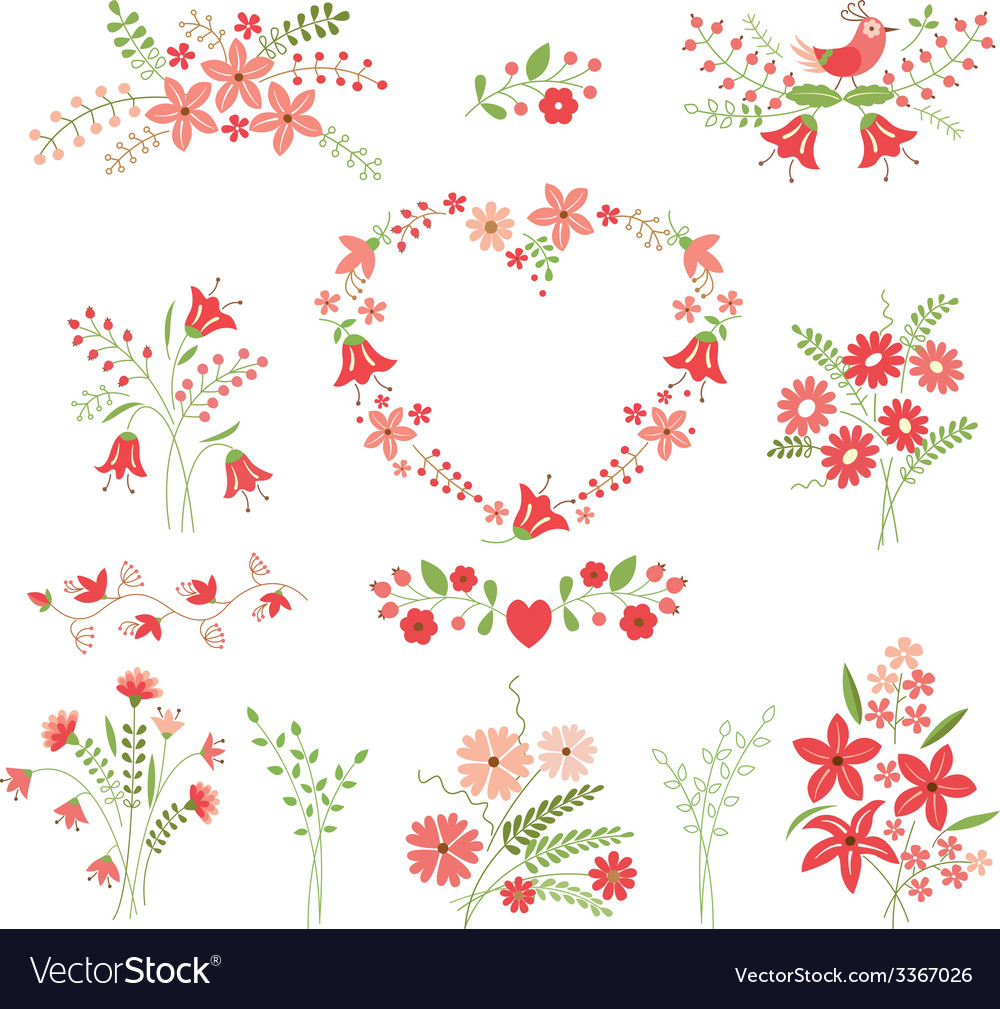 Set of flower design elements vector | Price: 1 Credit (USD $1)