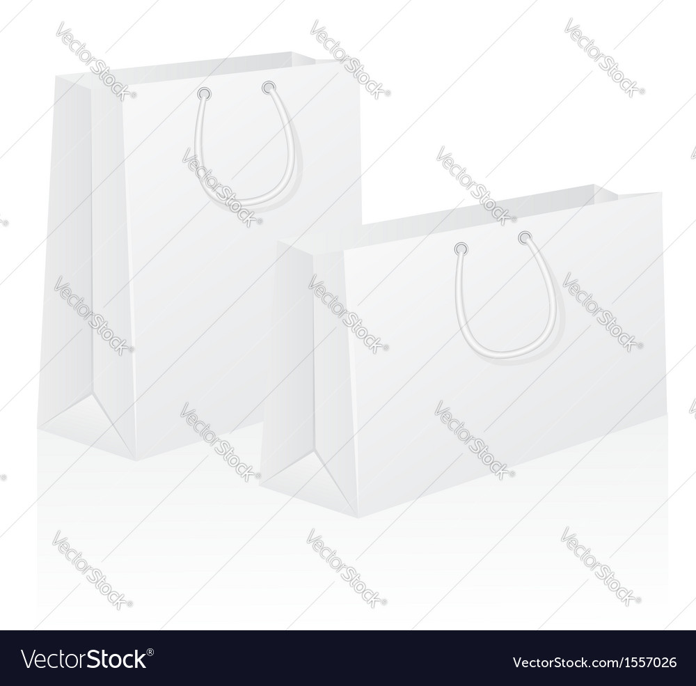 Set of white blank paper shoping bag vector | Price: 1 Credit (USD $1)