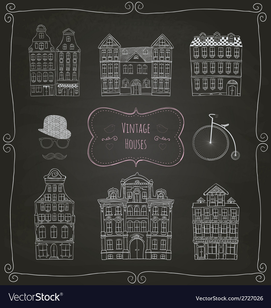 Vintage old styled houses vector | Price: 1 Credit (USD $1)