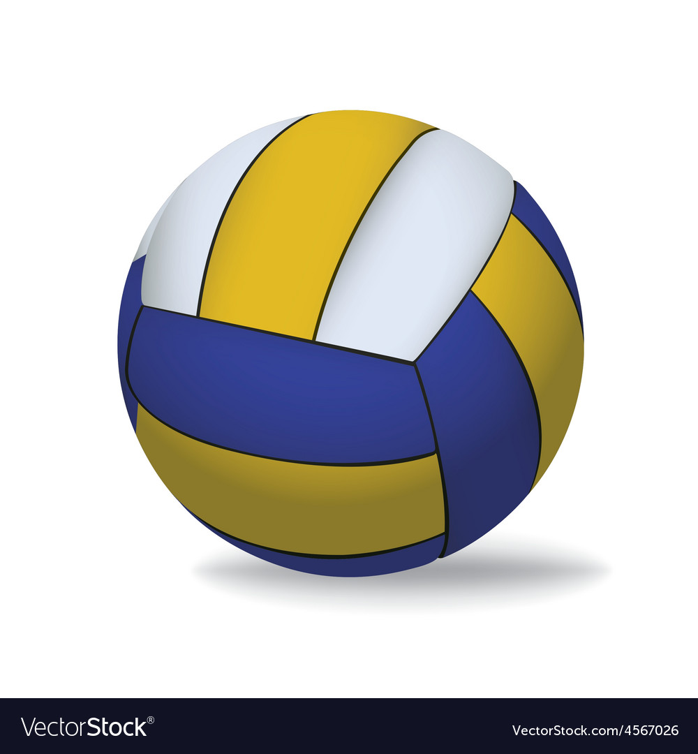 Yellow and blue volleyball isolated on white vector | Price: 1 Credit (USD $1)
