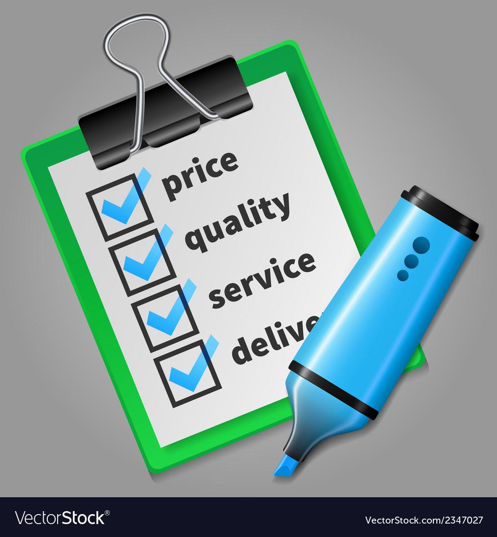 Blue felt tip pen and green checklist vector | Price: 1 Credit (USD $1)
