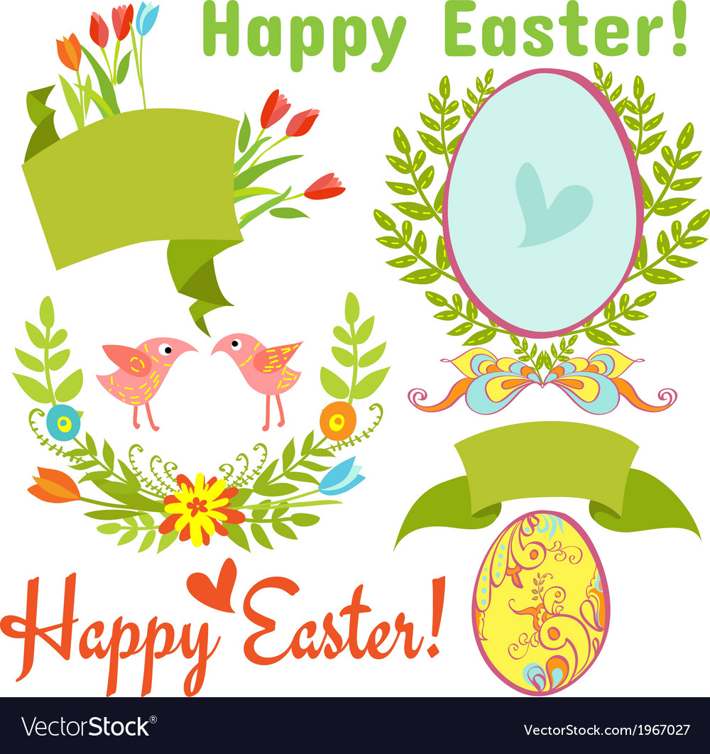 Egg birds flowers easter vector | Price: 1 Credit (USD $1)