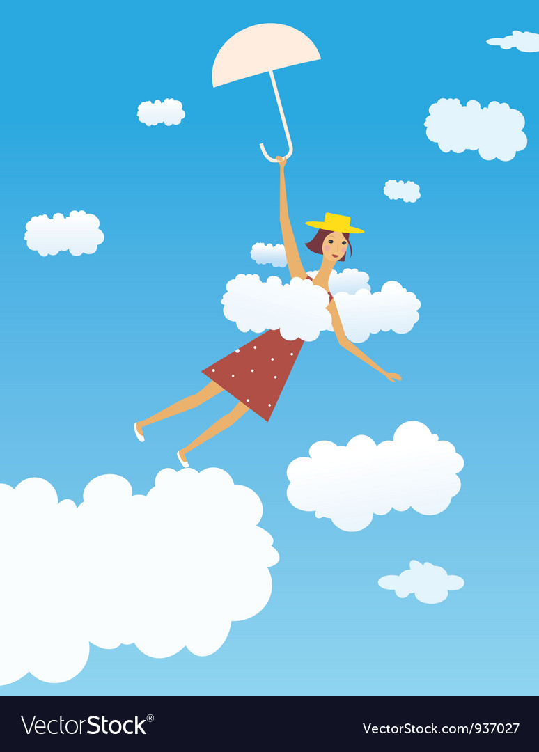 Flying girl vector | Price: 3 Credit (USD $3)