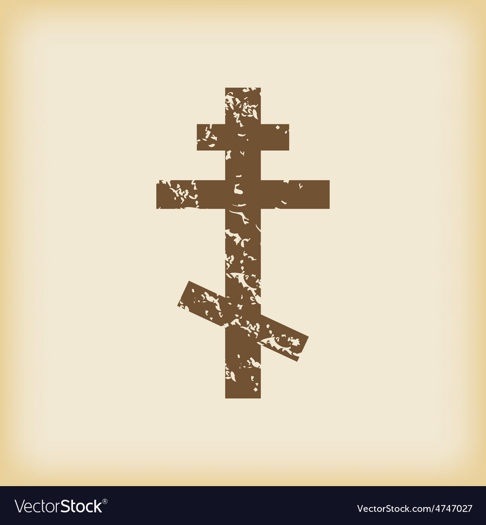 Grungy orthodox cross icon vector | Price: 1 Credit (USD $1)