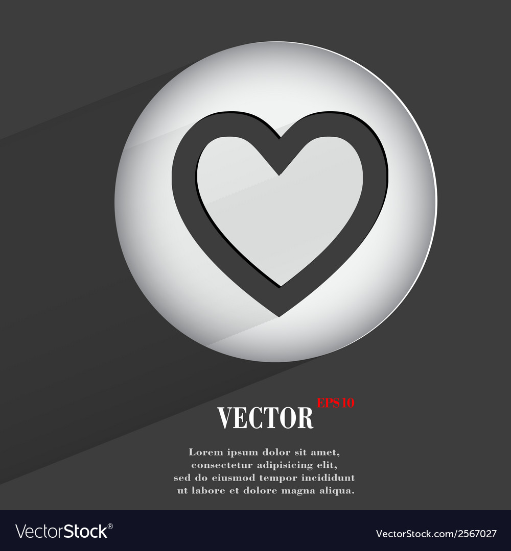 Heart flat modern web button with long shadow and vector | Price: 1 Credit (USD $1)