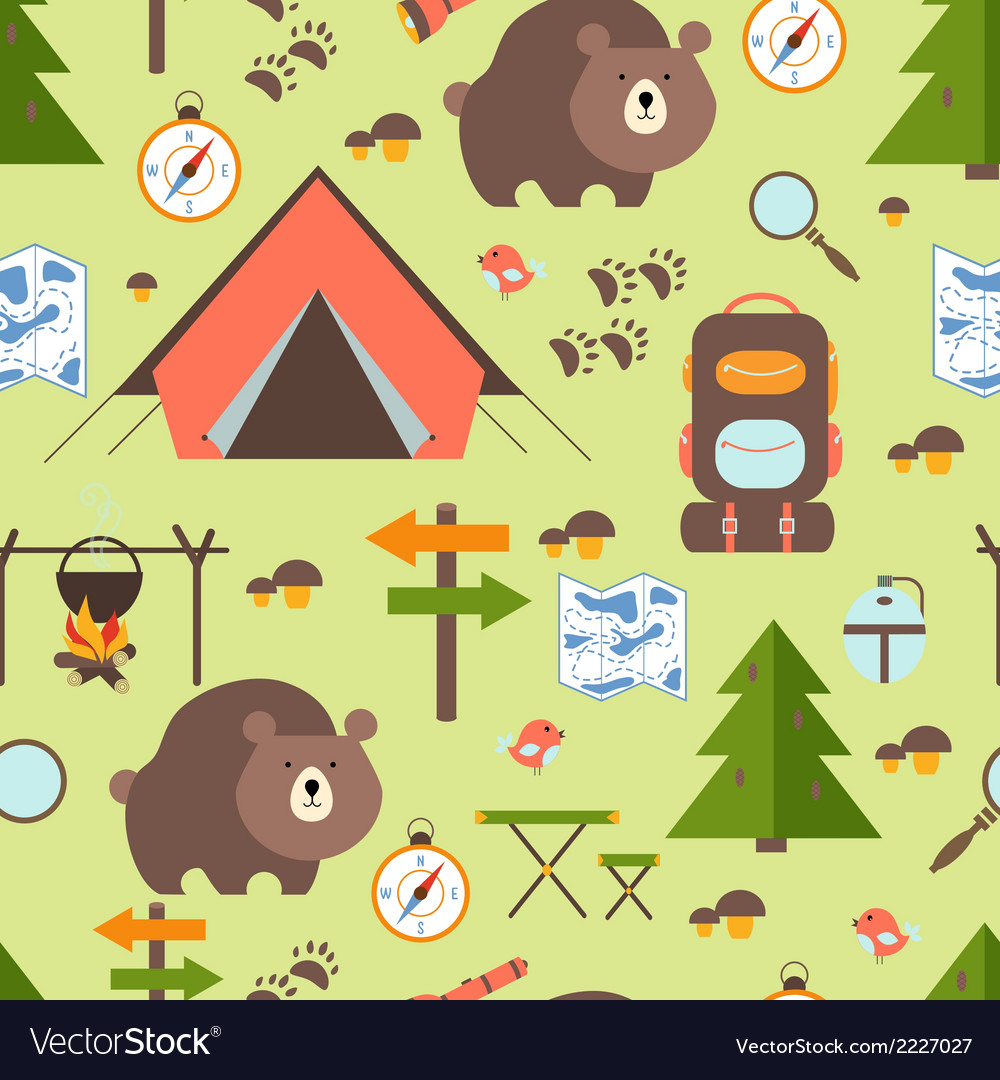 Hike in the woods seamless pattern vector | Price: 1 Credit (USD $1)
