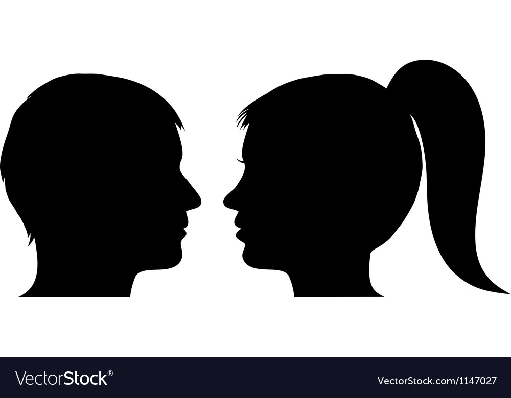 Man and woman face profile vector | Price: 1 Credit (USD $1)
